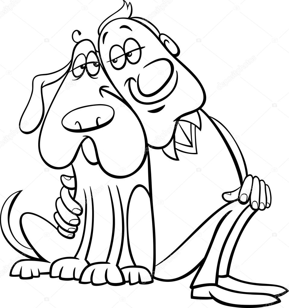 dog with owner coloring page u2014 stock vector izakowski 65072629