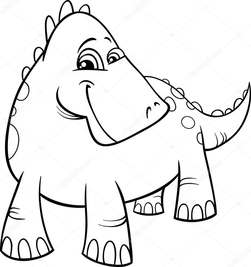 Página para colorear de dinosaurio o dragón — Vector de stock ...