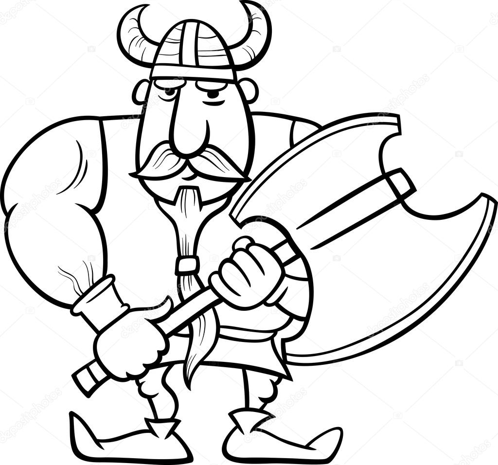 Viking çizgi Film Boyama Sayfası Stok Vektör Izakowski 65405481