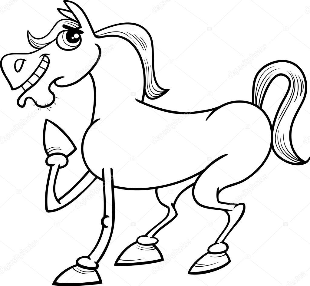 Página de granja caballo de dibujos animados para colorear — Vector ...