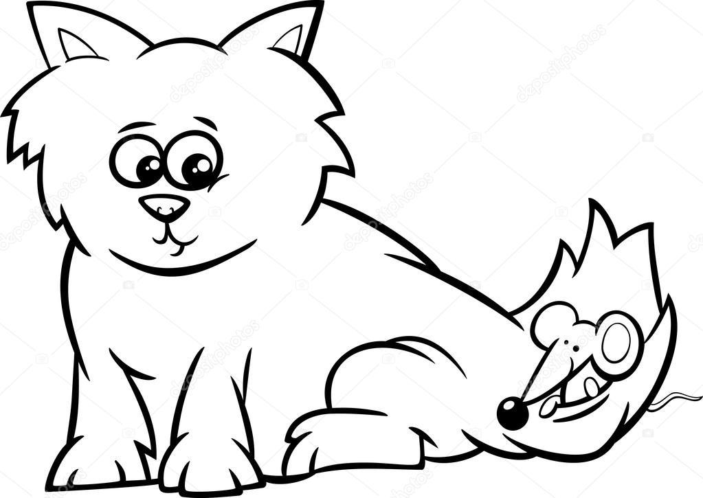 gatito con el ratón para colorear página — Vector de stock ...