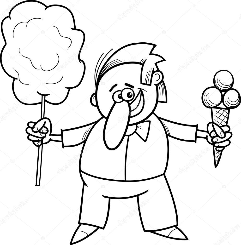 şeker Satıcı Boyama Sayfası Stok Vektör Izakowski 66545927