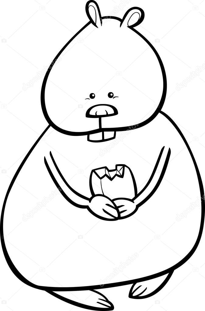 Coloriage Hamster Kawaii.Page De Coloriage Hamster Dessin Anime Image Vectorielle Izakowski