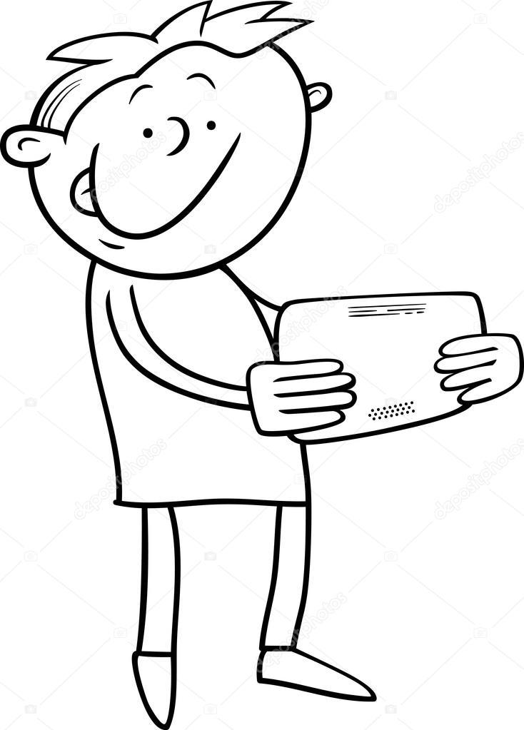 chico con tableta página para colorear — Archivo Imágenes ...