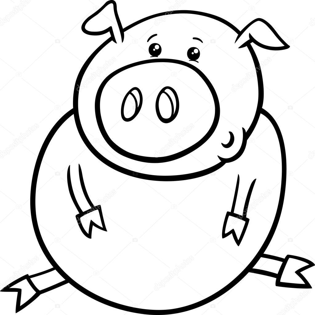 Página para colorear pequeñas de cerdo o cochinillo — Vector de ...