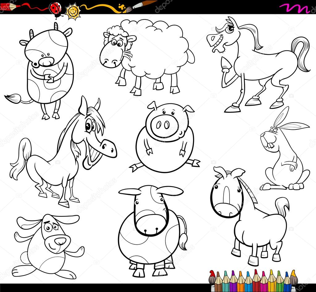 çiftlik Hayvanları Boyama Sayfası Stok Vektör Izakowski 70808911