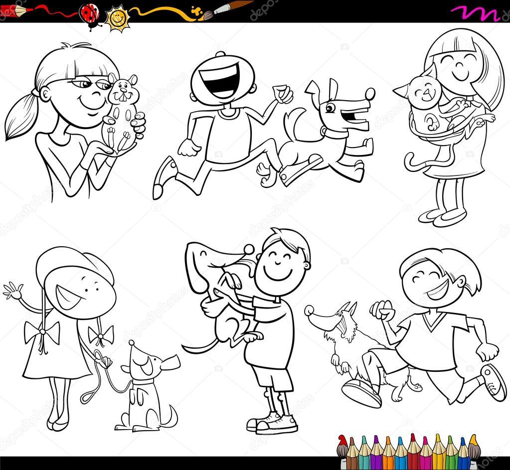 Los Niños Y Las Mascotas Juego Página Para Colorear Vector