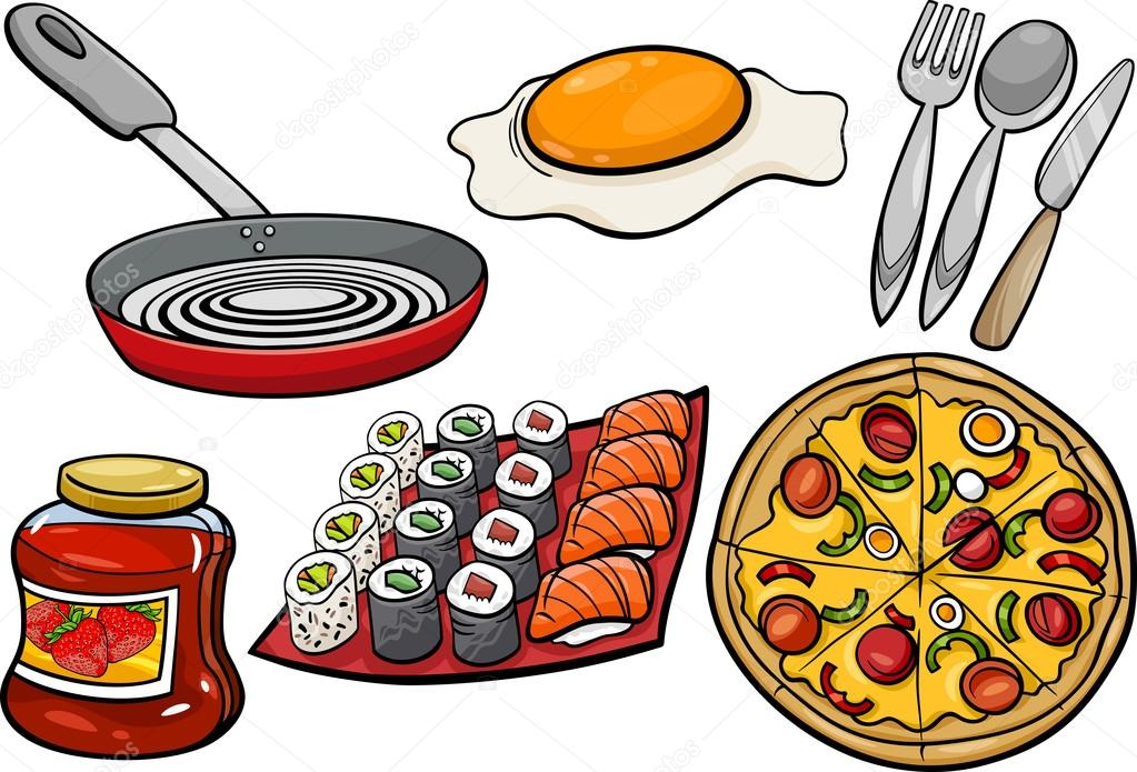 Conjunto de dibujos animados objetos cocina y alimentos - Objetos de cocina ...