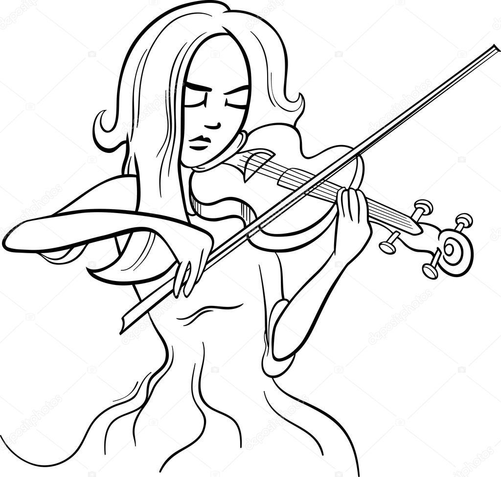 Ilustração a violinista menina dos desenhos animados ...