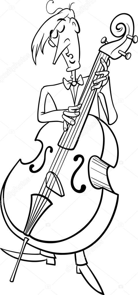 Kontrbas Müzisyen Boyama Sayfası Stok Vektör Izakowski 71964143