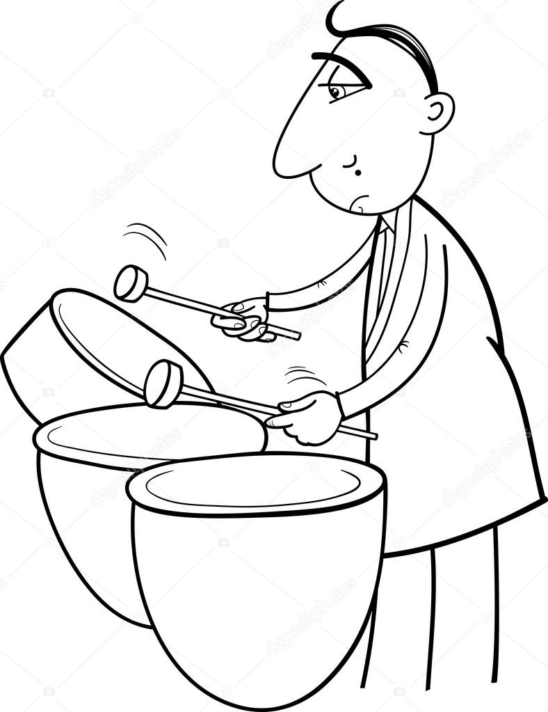 Coloring pictures drums - Black And White Cartoon Illustration Of Musician Playing The Drums Percussion Instrument For Coloring Book Vector By Izakowski