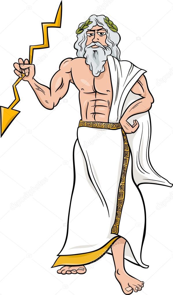 Dios griego ilustración de dibujos animados zeus