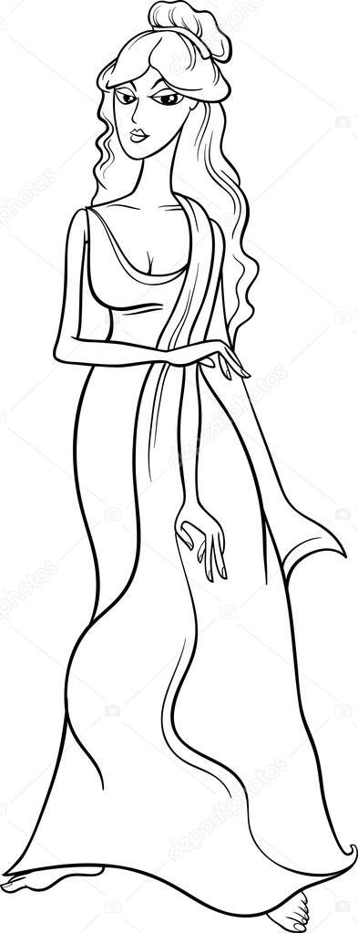 Griekse Godin Aphrodite Kleurplaat Stockvector C Izakowski 72087635