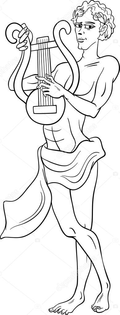 Página para colorear de Dios griego Apolo — Archivo Imágenes ...