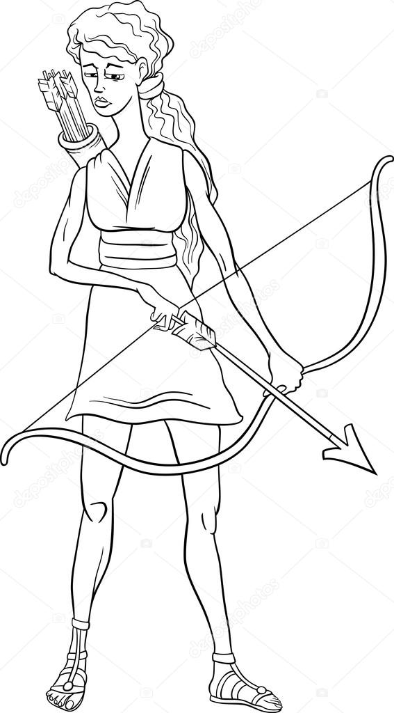 Artemis Coloring Page Greek Goddess Artemis Coloring Page