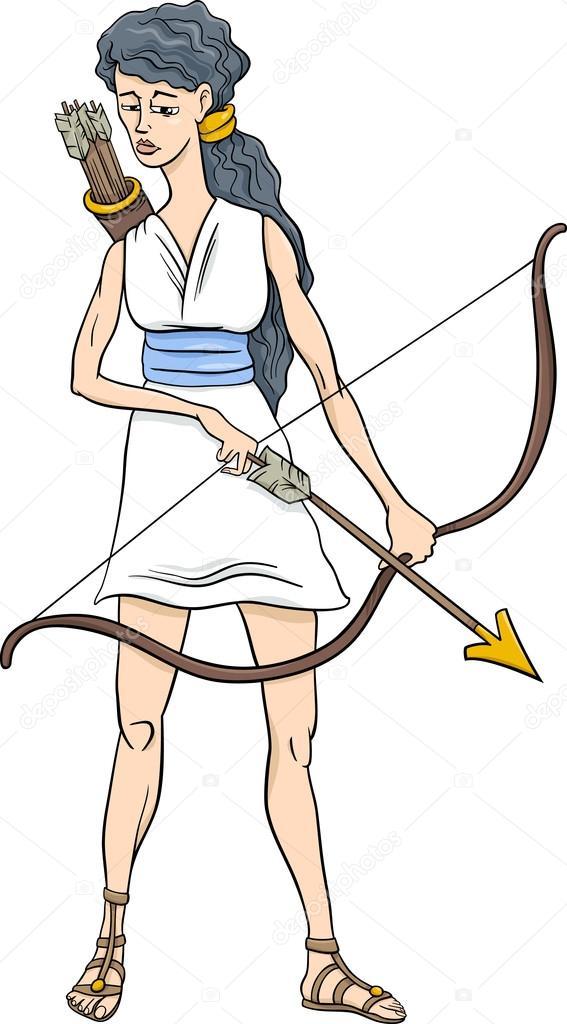 Diosa griega cartoon artemis — archivo imágenes