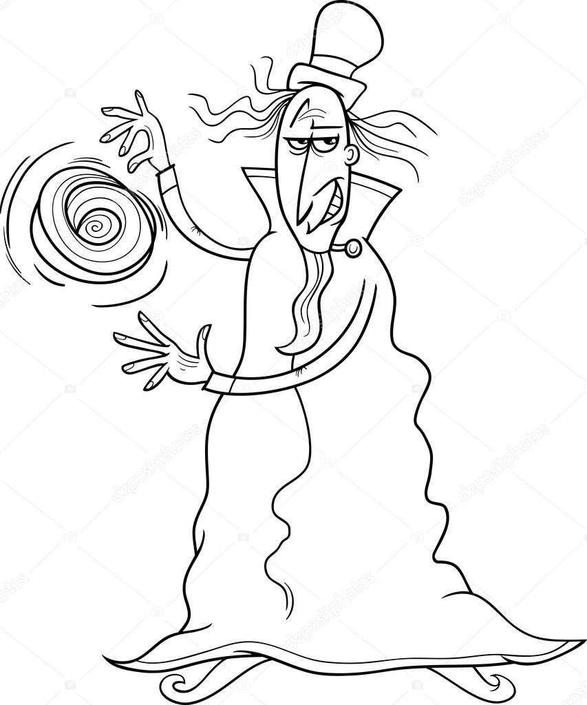 evil sorcerer coloring page — Stock Vector © izakowski #72828221