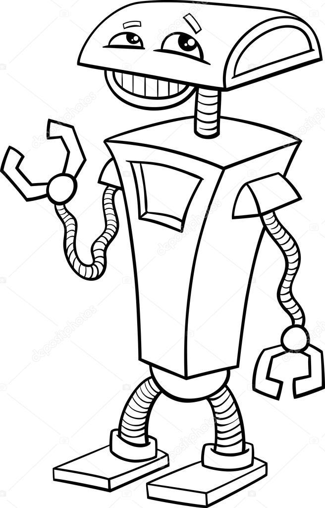 Robot çizgi Film Boyama Sayfası Stok Vektör Izakowski 73133843