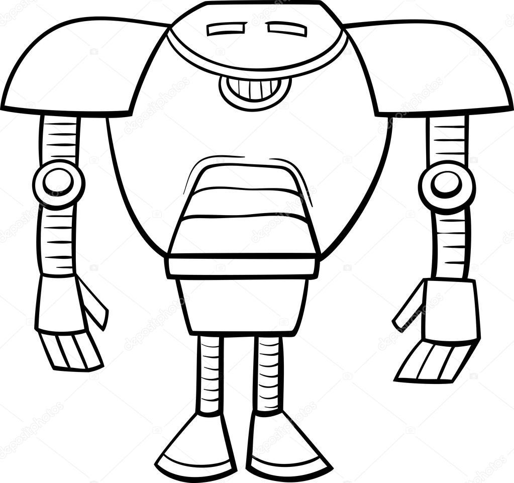 робот мультфильм раскраски страницу векторное изображение