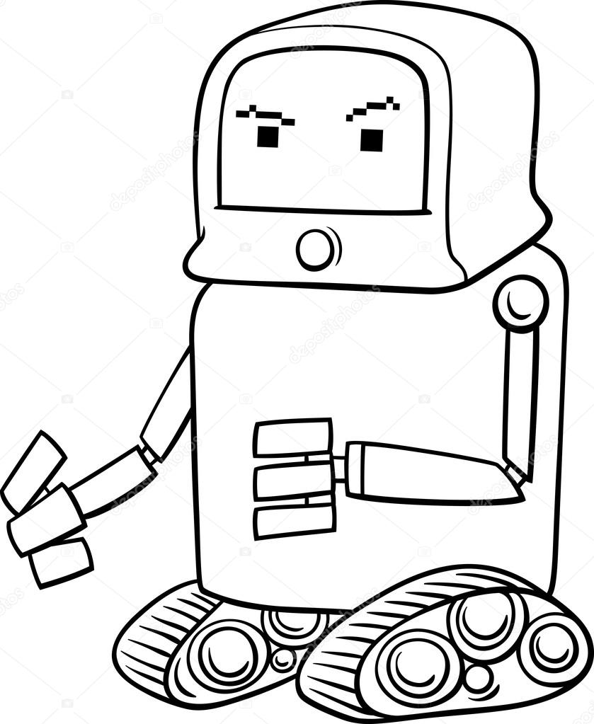Robot Cartoon Coloring Page Stock Vector C Izakowski 73133875