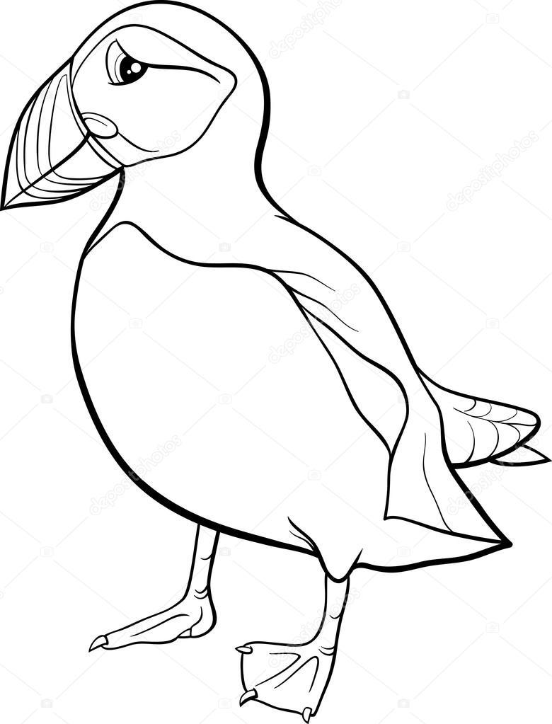puffin cartoon coloring page — Stock Vector © izakowski #73608943