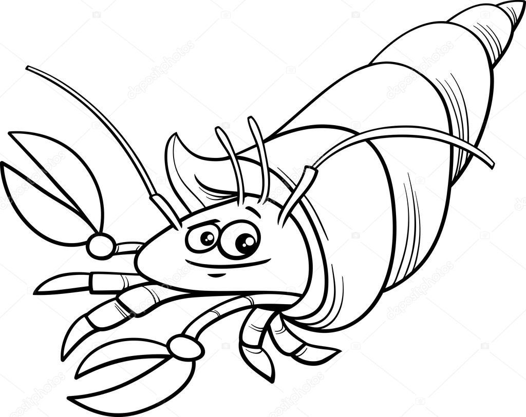 Página para colorear de dibujos animados de cangrejo ermitaño ...