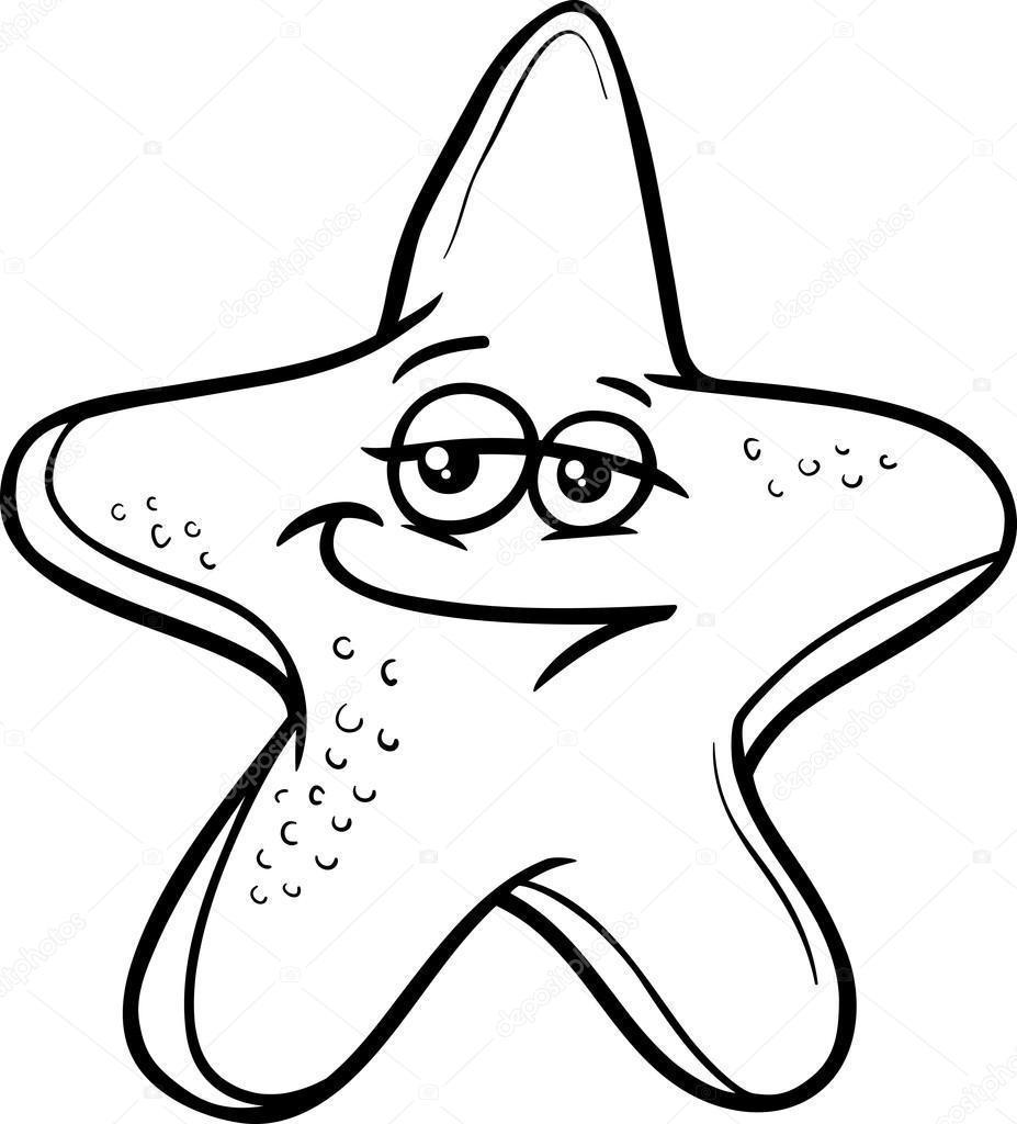 Deniz Yıldızı çizgi Film Boyama Sayfası Stok Vektör Izakowski