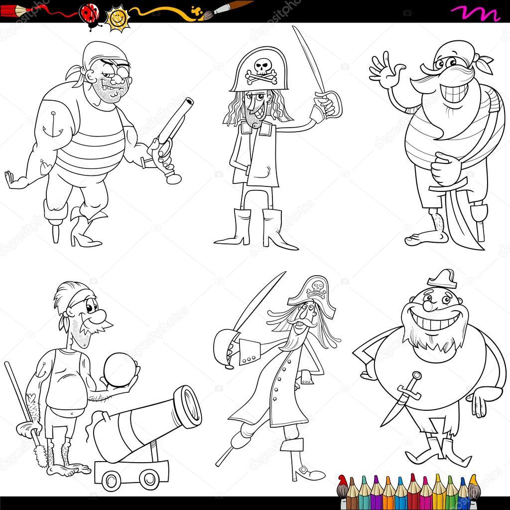 Página para colorear de dibujos animados de piratas de fantasía ...