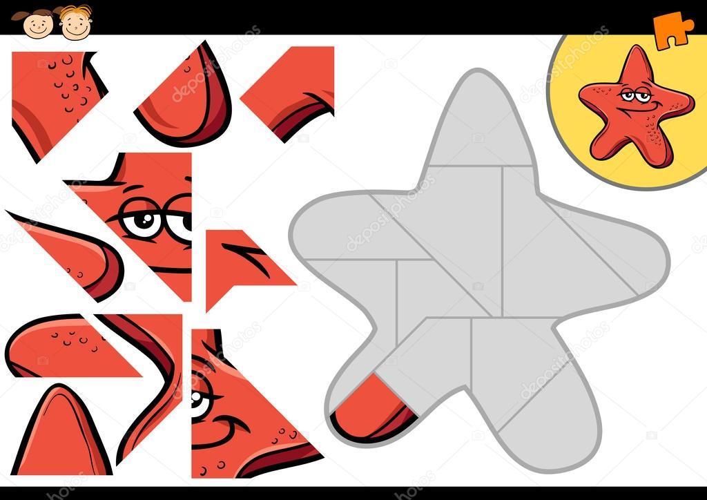 juego de rompecabezas de dibujos animados estrellas — Vector de ...