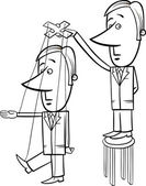 puppet businessman cartoon illustration