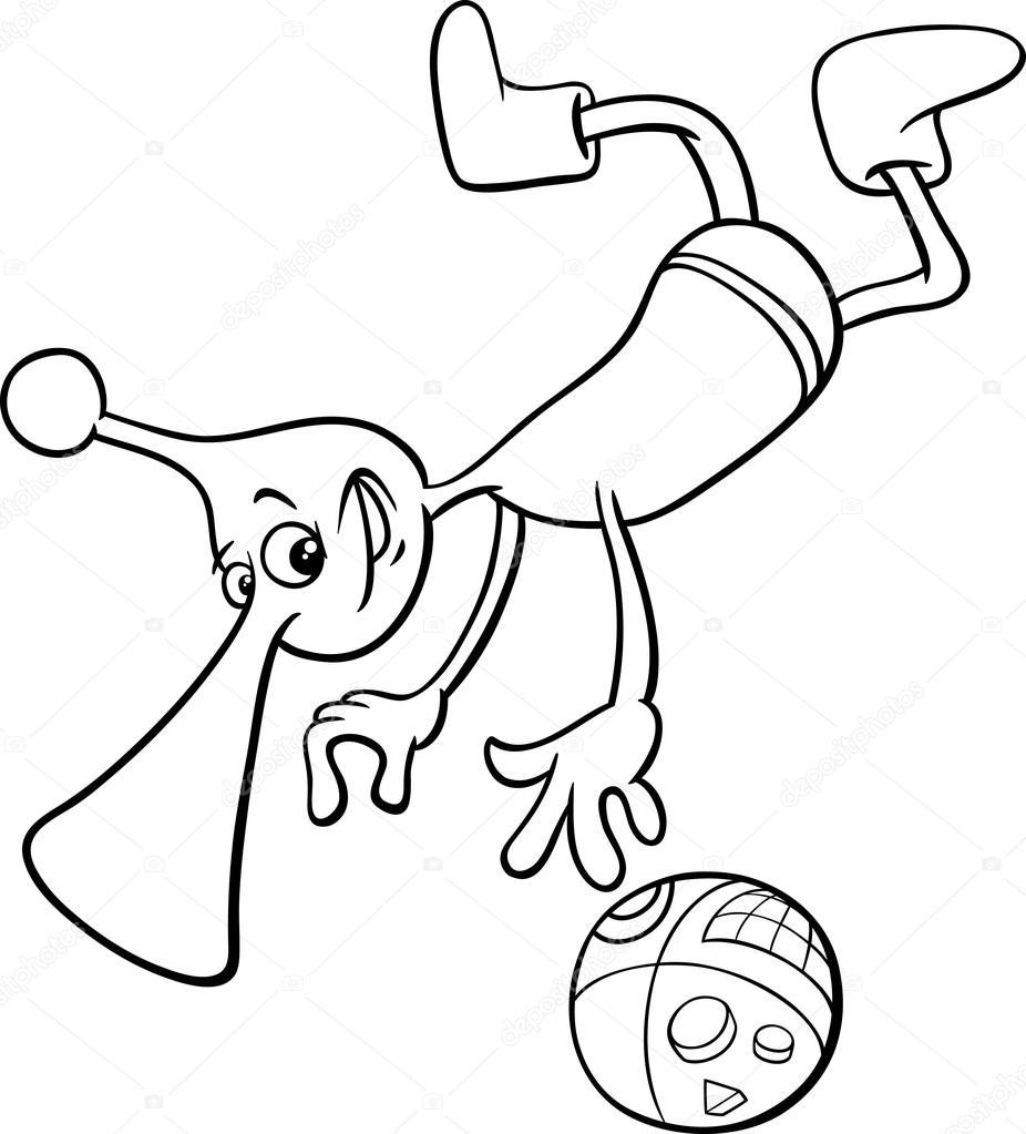 Página para colorear de personaje alienígena — Vector de stock ...