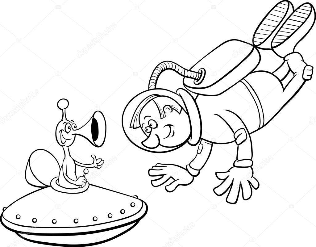 astronauta con página para colorear alien — Archivo Imágenes ...