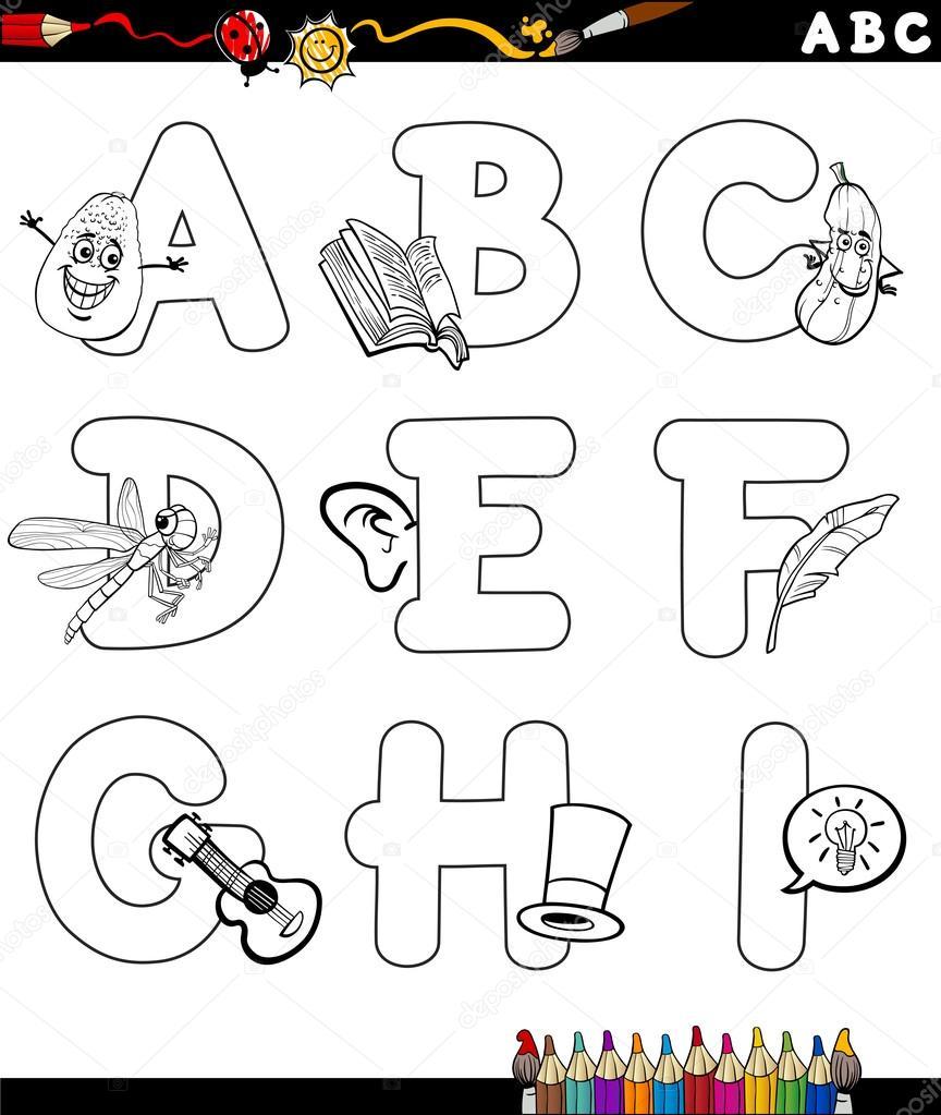 Cartoon Alphabet Coloring Page Stock Vector Izakowski 77571374