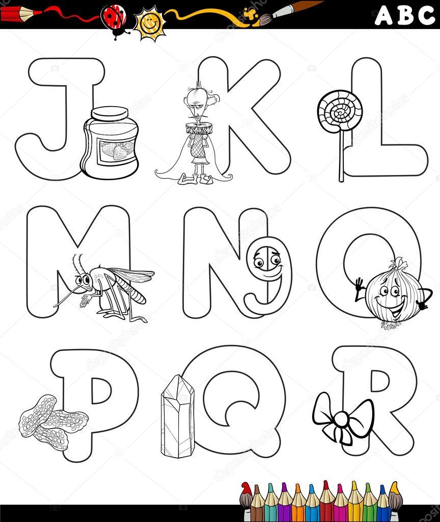 alfabeto dos desenhos animados para colorir livro