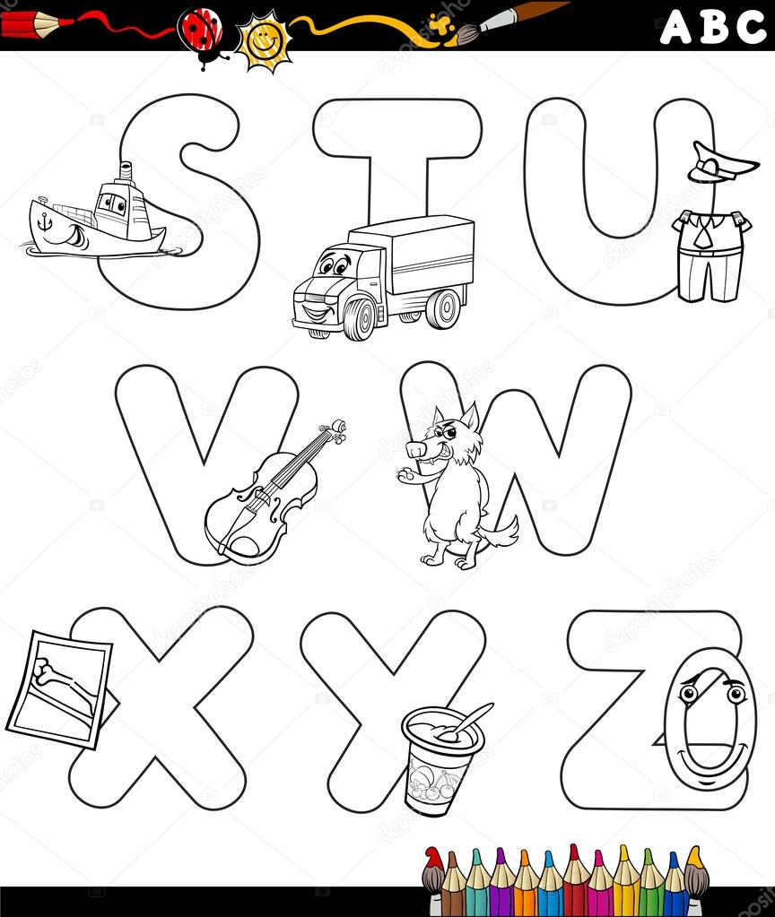 Cartoon alphabet coloring page stock vector izakowski 77571606 black and white cartoon illustration of capital letters alphabet with objects for children education from s to z for coloring book vector by izakowski altavistaventures Images