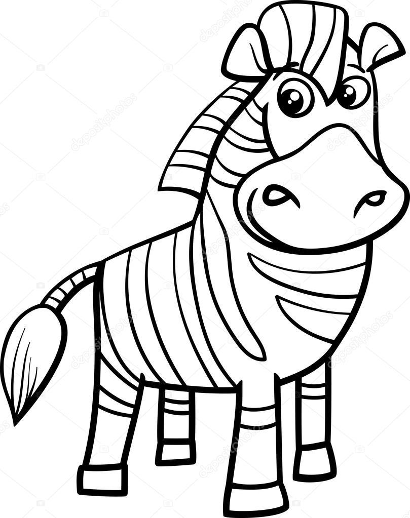 Página para colorear de dibujos animados de cebra — Archivo Imágenes ...