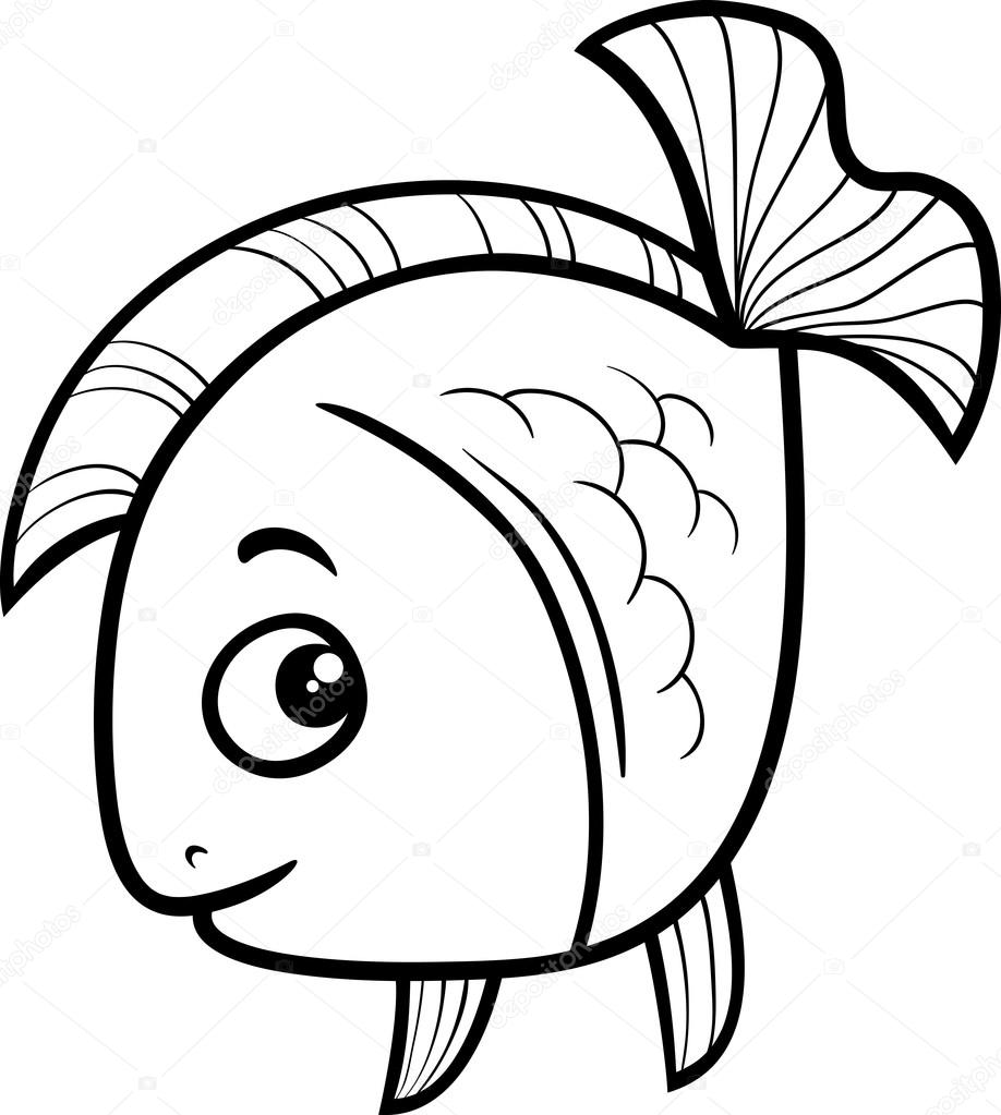 black and white cartoon illustration of golden fish sea life animal for coloring book vector by izakowski