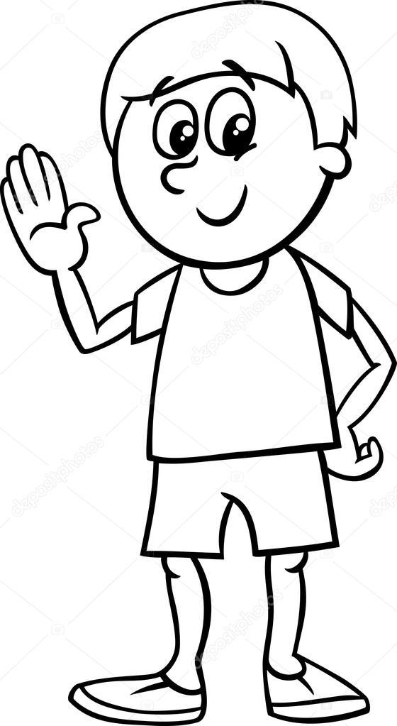gelukkige jongen kleurplaat stockvector