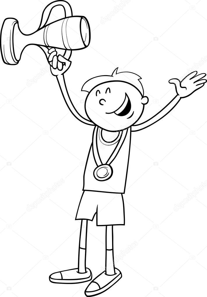 Boy Winner Coloring Page Stock Vector C Izakowski 80064744