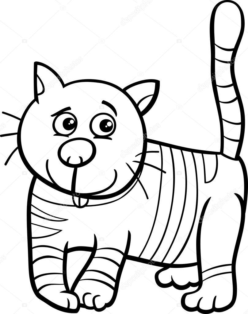 Kedi Ya Da Yavru Kedi Boyama Kitabı Stok Vektör Izakowski 80491032