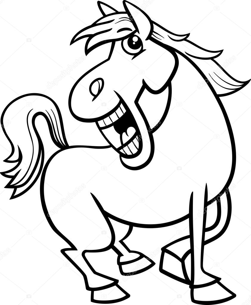 libro de animales para colorear de caballo — Vector de stock ...