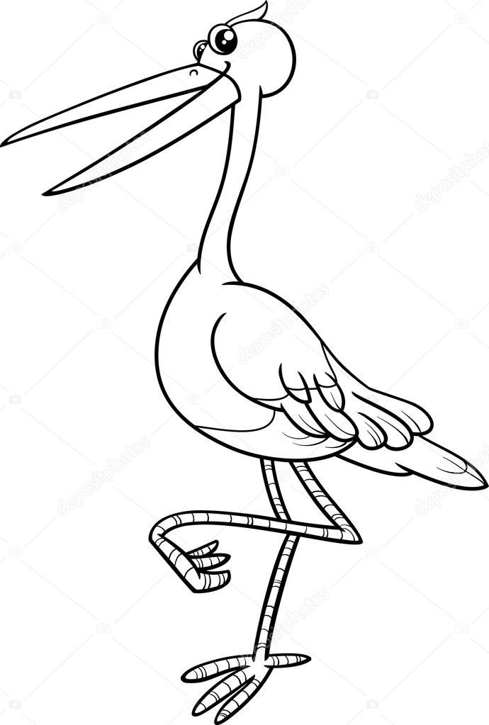 Stork Bird Coloring Book Stock Vector C Izakowski 81610594