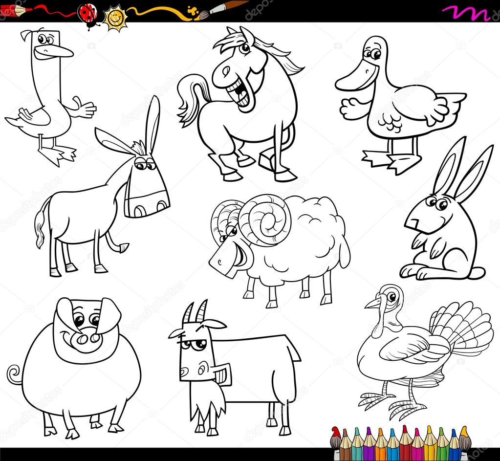 Farm Animals Coloring Book Stock Vector C Izakowski 81815466