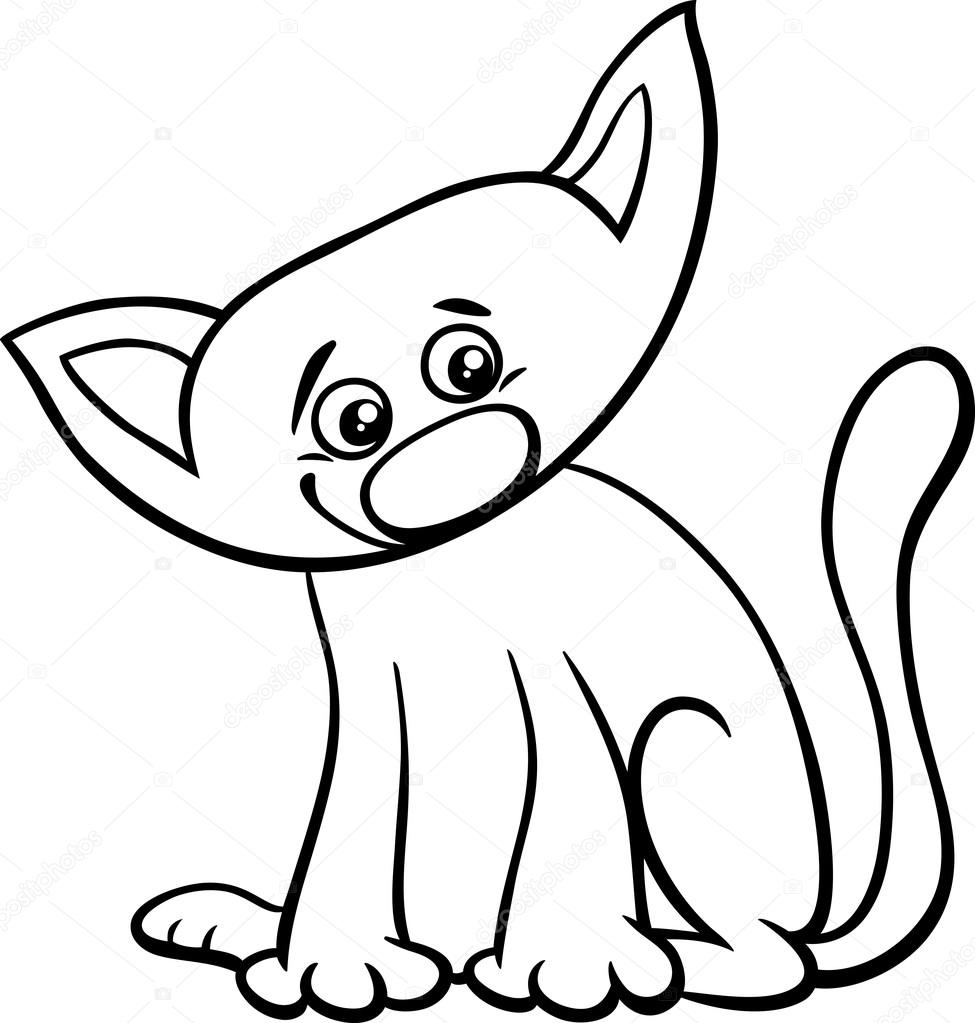 cat or kitten coloring page — Stock Vector © izakowski #81974658