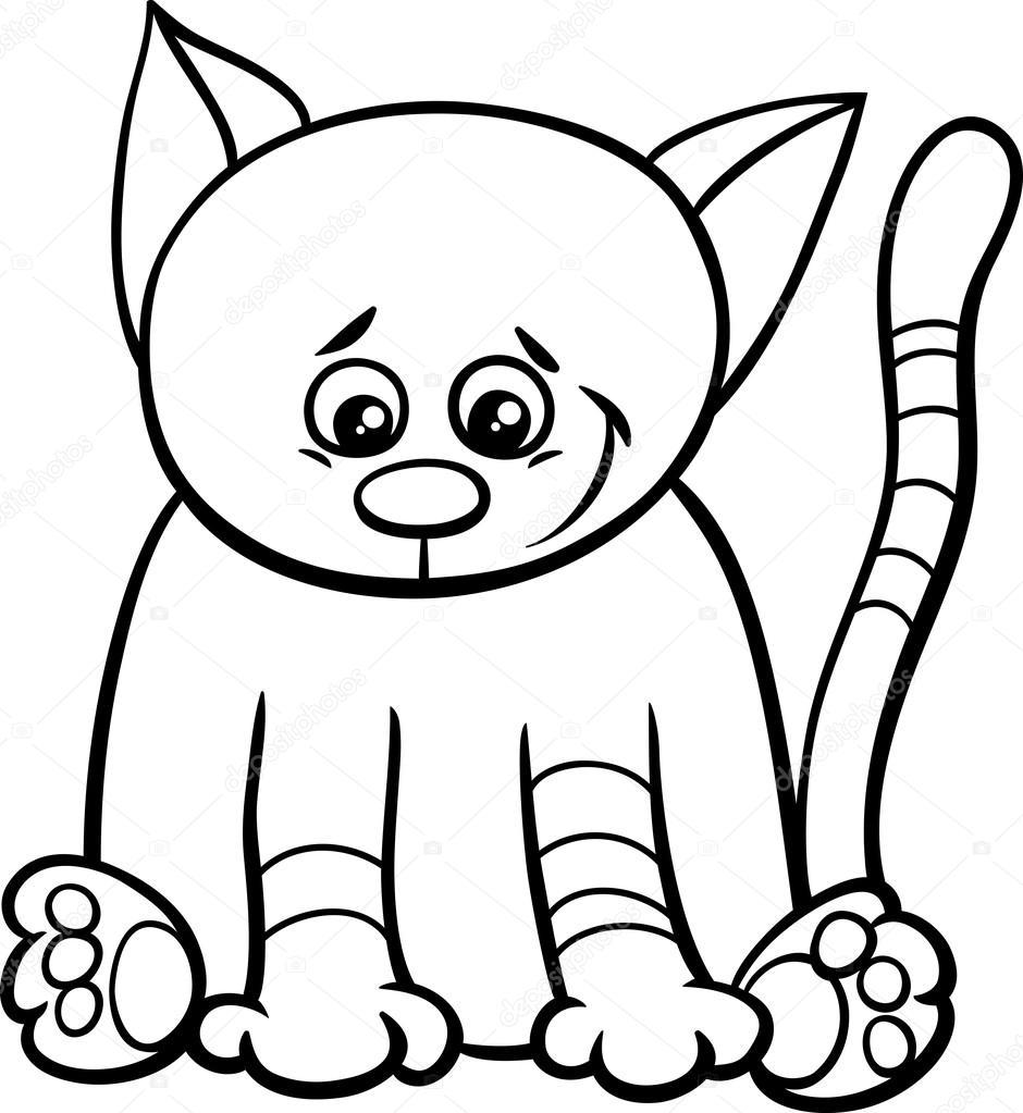 libro de colorear de lindo gatito — Archivo Imágenes Vectoriales ...