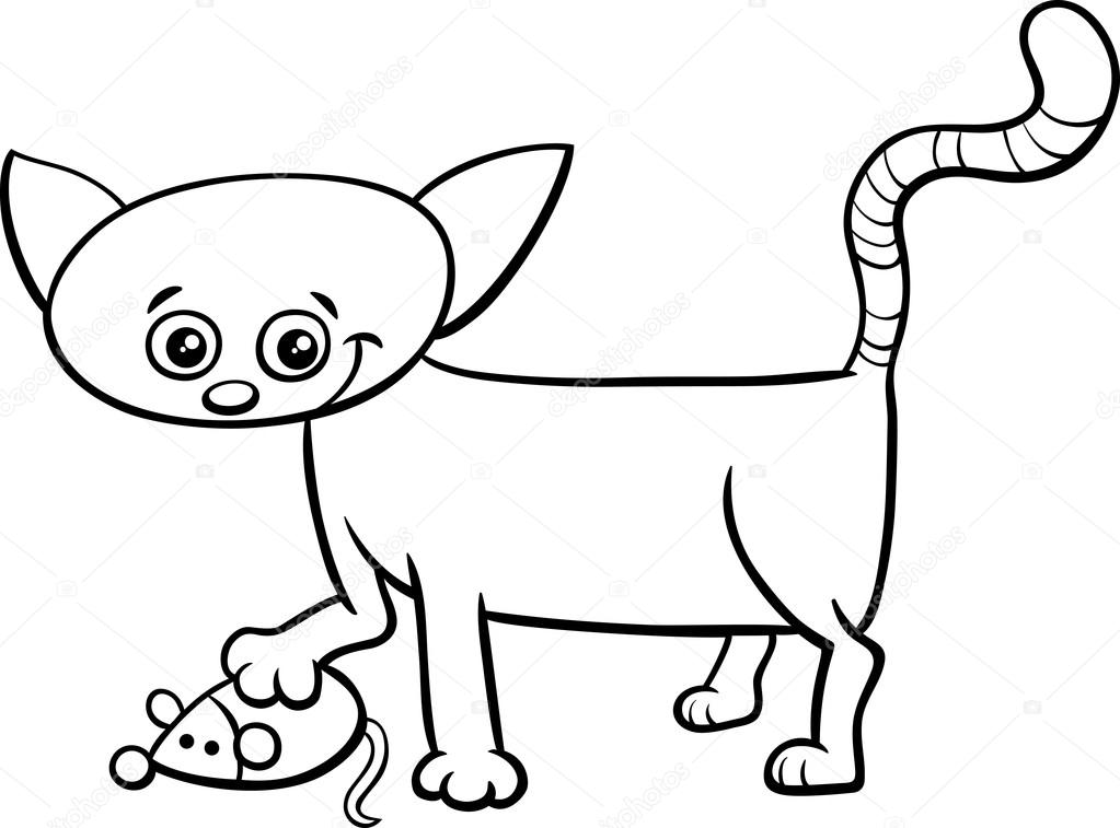 Yavru Kedi Oyuncak Fare Boyama Sayfası Stok Vektör Izakowski