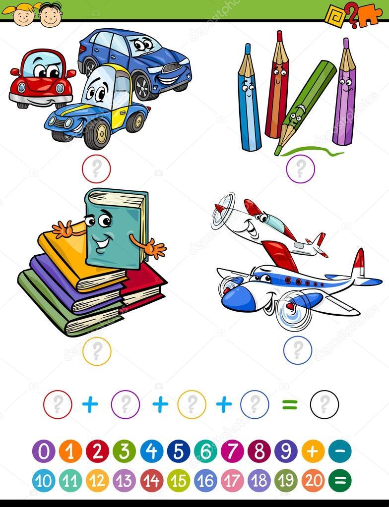tarea de matemáticas de dibujos animados para niños — Vector de ...