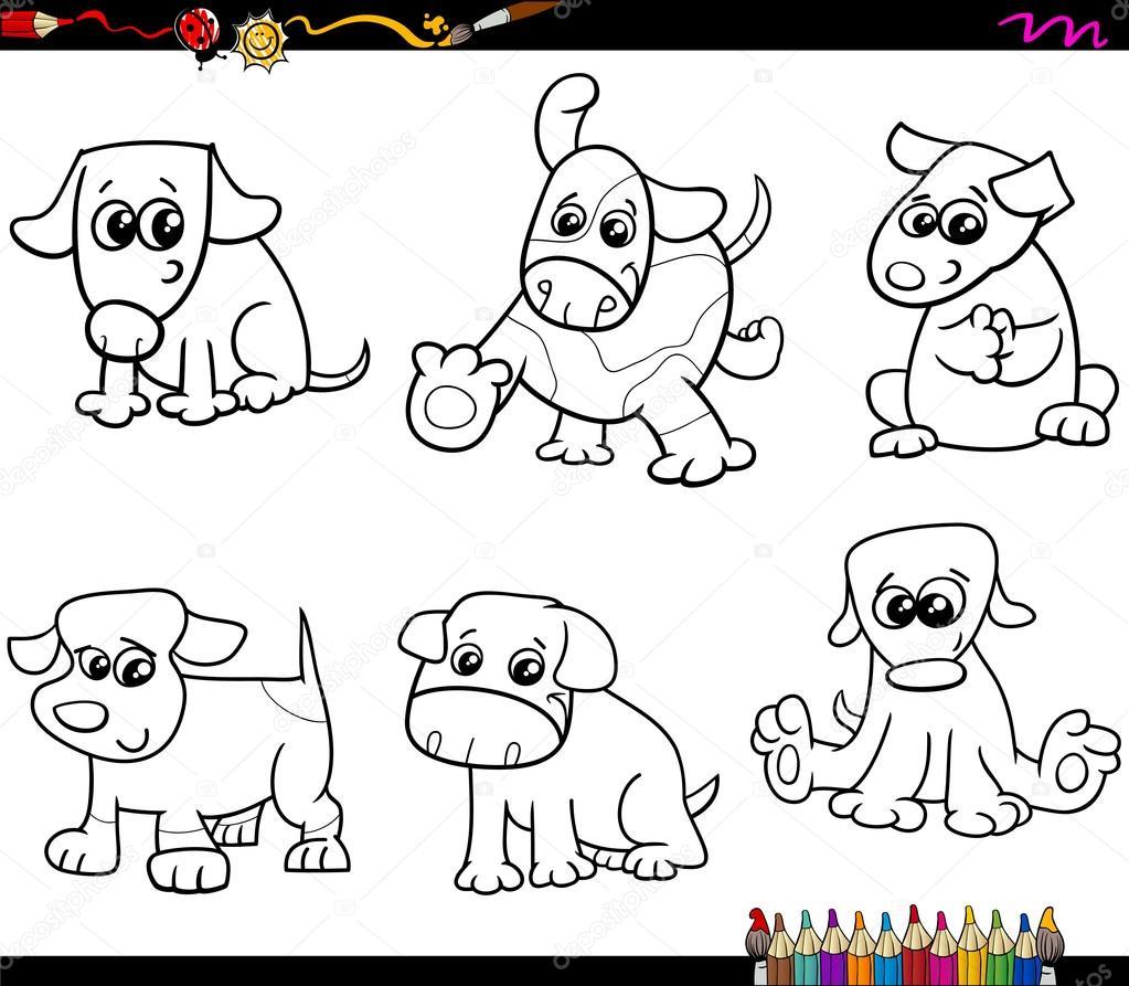 perros ajustar página para colorear de dibujos animados — Vector de ...