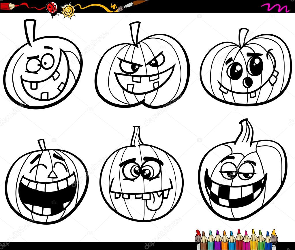 Coloring pages for halloween pumpkins - Black And White Cartoon Illustration Jacks Lanterns Or Halloween Pumpkins Characters Set For Coloring Book Vector By Izakowski