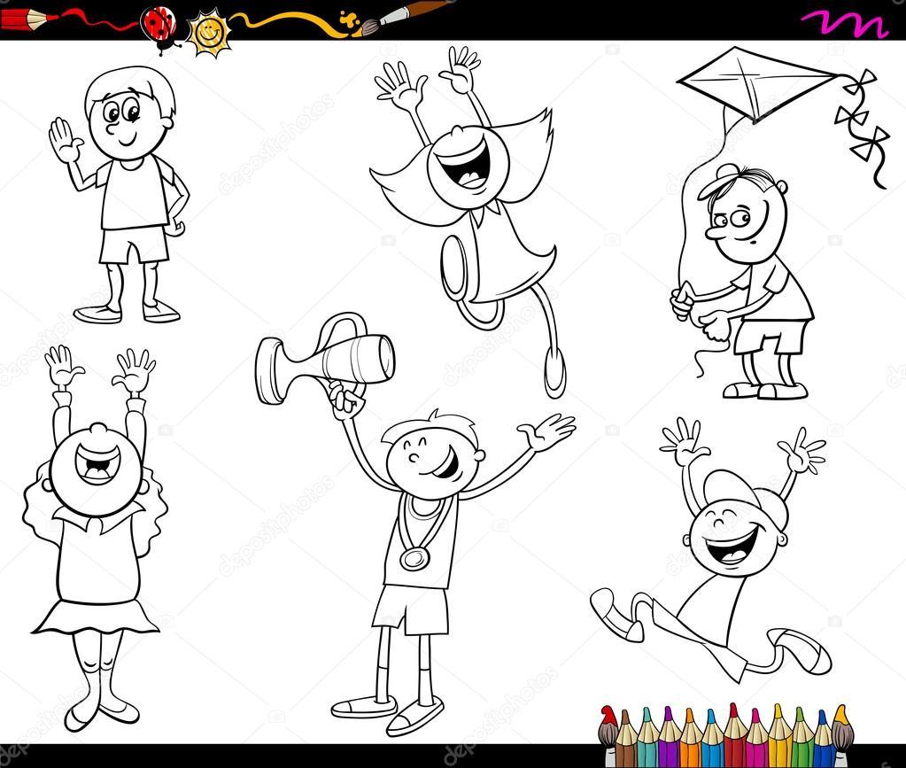 çocuklar Karakter Sayfa Boyama Stok Vektör Izakowski 85908054